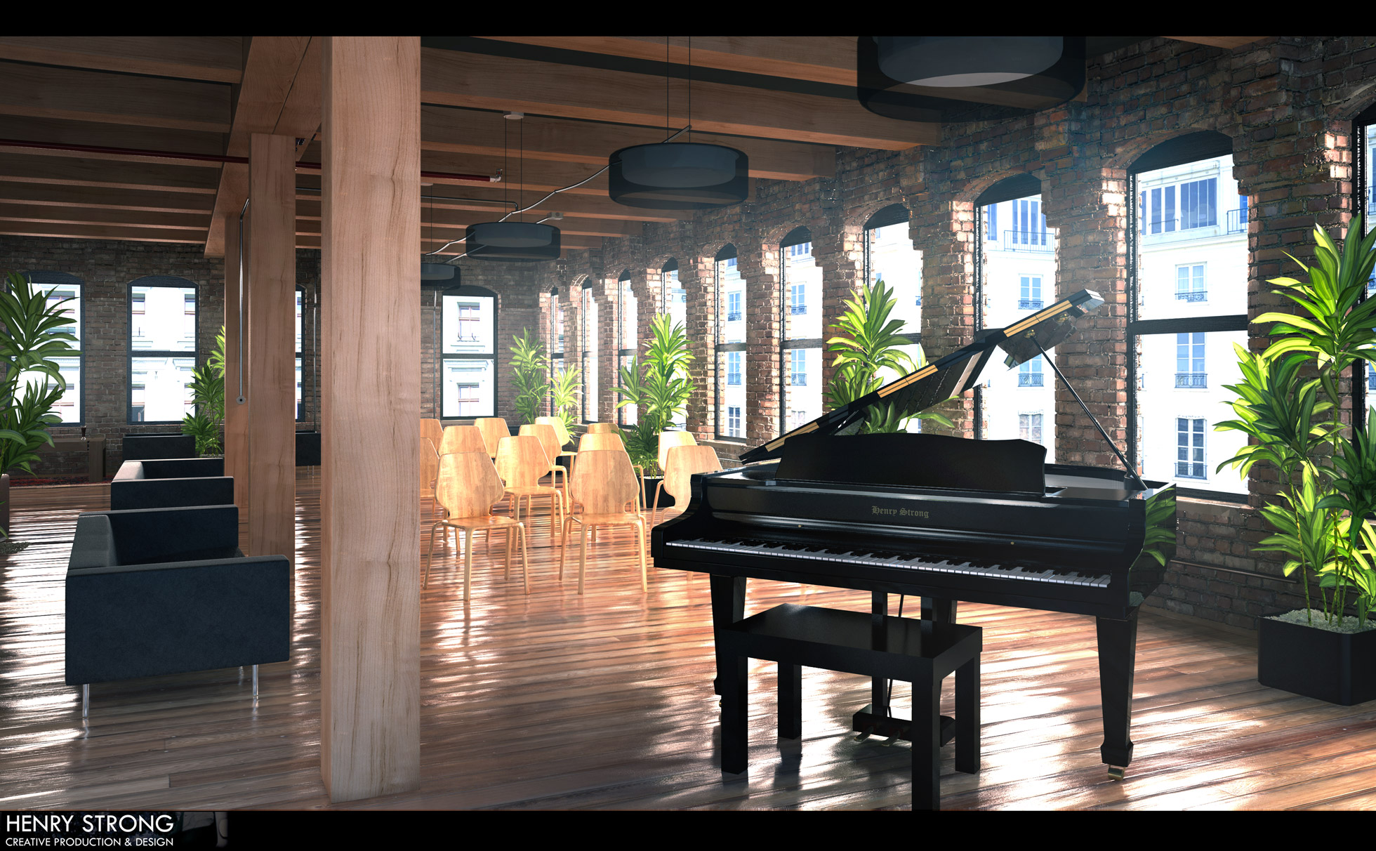 The piano recital 3ds max vray henry strong creative for Espejo 3d max vray